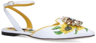 Dolce & Gabbana Leather Sunflower Ballet Flats