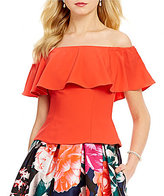 Eliza J Off-the-Shoulder Ruffle Short Sleeve Solid Top