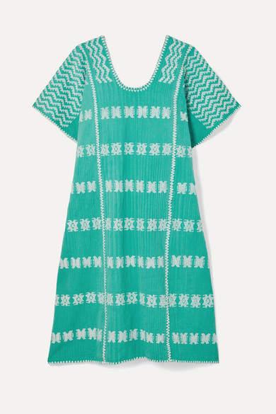 Pippa Holt - Embroidered Cotton Kaftan - Mint