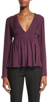 Elizabeth and James Araceli Long-Sleeve Peplum Top, Plum