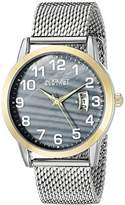 August Steiner Men's AS8195SSG Yellow Gold Quartz Watch with Blue Mother of Pearl Dial and Silver Mesh Bracelet