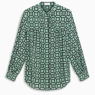 Salvatore Ferragamo Ice green shirt with Gancini Galoure pattern