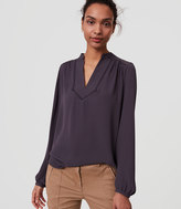 LOFT Lacy Split Neck Blouse