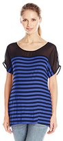 Three Seasons Maternity Women's Maternity Short Sleeve Stripe Chiffon Yoke Top
