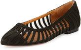 Neiman Marcus Kallie Mesh-Inset Suede Flat, Black