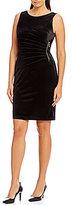 Ivanka Trump Sunburst Pleated Zipper-Trim Velvet Sheath Dress