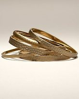 Hammered Gold Bangle Set