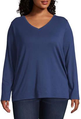 Liz Claiborne Long Sleeve V-Neck Tee - Plus