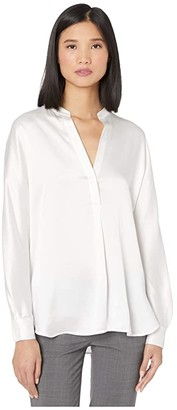 Vince Band Collar Blouse (Optic White) Women's Clothing