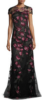 David Meister Cap-Sleeve Floral Tulle Gown, Pink/Gold/Black