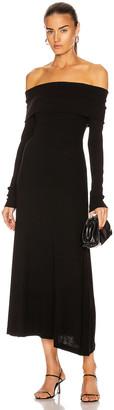 Rosetta Getty Banded Off The Shoulder Long Sleeve Dress in Black   FWRD