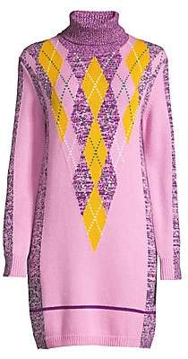 Escada Sport Women's Danata Wool Argyle Turtleneck Sweater Dress