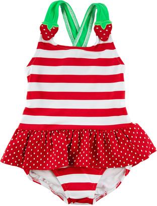 Florence Eiseman Girl's Striped Strawberry One-Piece Swimsuit, Size 2-6X
