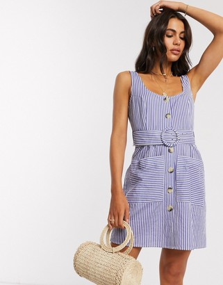 ASOS DESIGN button through linen mini sundress with self covered belt in stripe