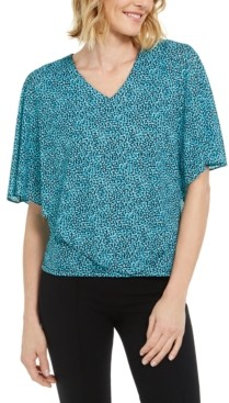 JM Collection Printed V-Neck Asymmetrical Overlay Top, Created for Macy's
