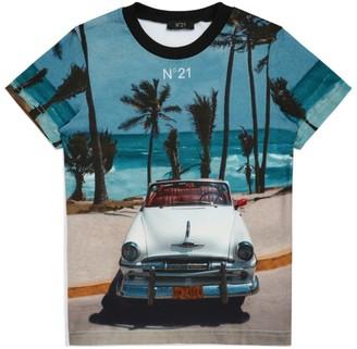 N°21 N21 Kids Cotton Beach Print T-Shirt