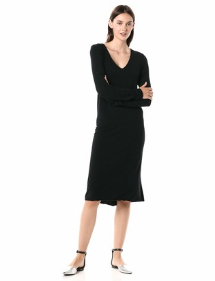 Majestic Filatures Women's Viscose/Elastane Long Sleeve V-Neck Dress Noir 4
