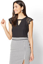 New York & Co. 7th Avenue - Crochet-Trim Cap-Sleeve Blouse