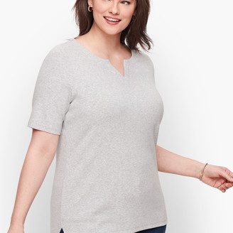 Talbots Split Neck Tee - Heathered