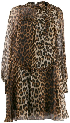 No.21 leopard sheer short dress