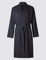 M&s Collection Pure Cotton Printed Dressing Gown with Belt