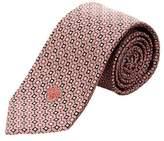 Versace Pink & Black Geometric Silk Tie.