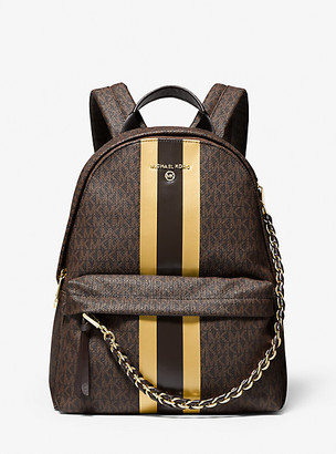 MICHAEL Michael Kors MK Slater Medium Logo Metallic Stripe Backpack - Brn/gold - Michael Kors