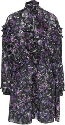 IRO Tie-neck Ruffled Printed Silk Crepe De Chine Mini Dress