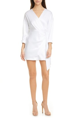 Alice + Olivia Ophelia Faux Wrap Long Sleeve Mini Dress