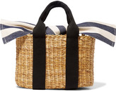 Muun Cabana Mini Straw And Striped Cotton-canvas Tote - Beige