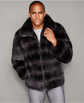 The Fur Vault Mens Rabbit Fur Bomber Jacket