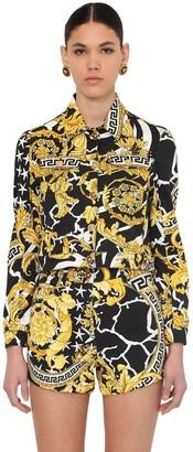 Versace Cropped Cotton Blend Denim Jacket