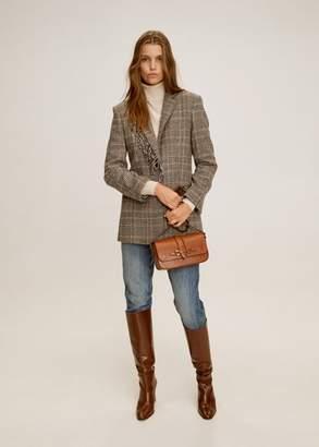 MANGO Fringed wool blazer brown - XS - Women