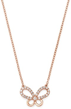 Bloomingdale's Diamond Butterfly Pendant Necklace in 14K Rose Gold, 0.25 ct. t.w. - 100% Exclusive