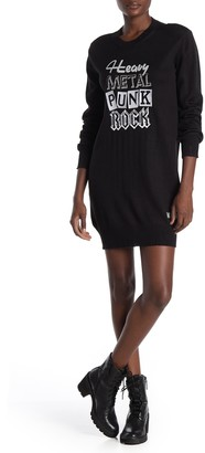 Love Moschino Distressed Embroidered Wool Blend Sweater Dress
