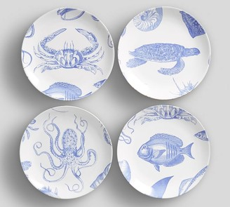 Pottery Barn Sea Life Salad Plates, Set of 4 - Assorted
