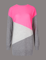 Autograph Pure Cashmere Colour Block Longline Jumper