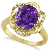Allurez Amethyst and Diamond G-H/SI Right Hand Flower Swirl Cocktail Ring in 14K Yellow Gold (2.45ctw)