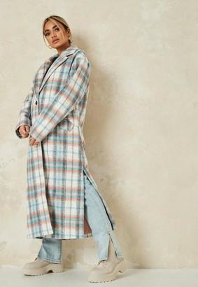 Missguided Pink Plaid Side Split Formal Coat