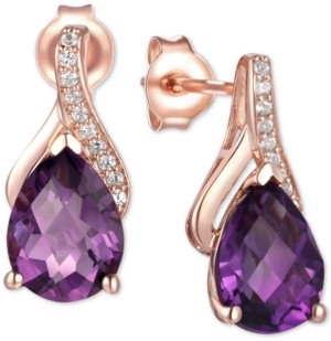 Macy's Amethyst (2-1/10 ct. t.w.) & Diamond Accent Drop Earrings in 14k Rose Gold (Also Available in Rhodolite Garnet, Mystic Topaz, Citrine, and Blue Topaz)