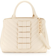 Betsey Johnson Black Tie Affair Quilted Bow Satchel Bag, Cream