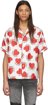 Amiri Red and White Silk Hearts Short Sleeve Shirt
