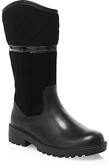 Geox Girl's Casey Waterproof Leather & Suede Tall Boots