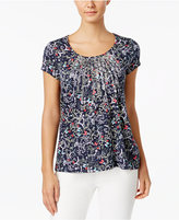 Charter Club Metallic-Pleated Printed Cotton Top, Only at Macy's