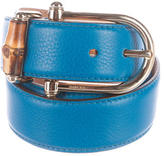 Gucci Bamboo-Accented Leather Belt