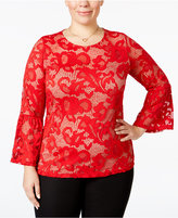 INC International Concepts Plus Size Lace Bell-Sleeve Top, Only at Macy's