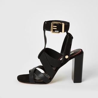 River Island Womens Black elasticated strap block heel sandals