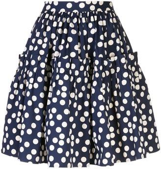 Carolina Herrera Polka Dot Tiered Skirt