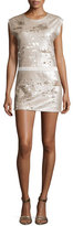 Halston Sequined Cap-Sleeve Slip Dress