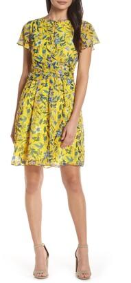 Sam Edelman Floral Crossover Waist A-Line Dress